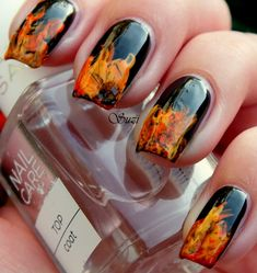 """This is the first nail design of """"Four Elements Challenge"""" by Taya"""