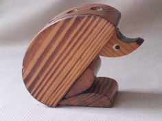 hedgehog wooden figurine pencil holder collectible!