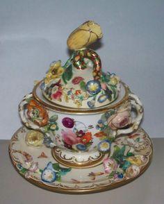Antique Coalbrookdale Coalport Meissen Style Sucrier or Dresser Jar from antiquecharm on Ruby Lane