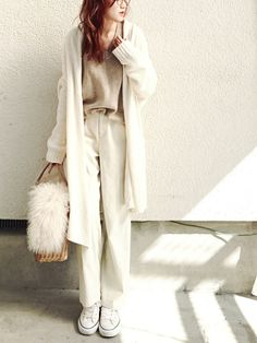 daily style from WEAR japan page Japan Fashion, Daily Fashion, Cool Style, My Style, Daily Style, Office Fashion, White Denim, Long Cardigan, Winter Wear
