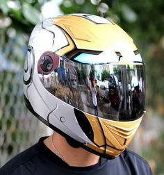 Motorcycle Helmet Biker Lid DOT/ECE Approved Iron Man Theme Mask Full Face Masei - Helmets   Available In - Silver/Gold - Blue/Gold - Red/Gold (Unisex Sizes: M, L, XL, XXL)