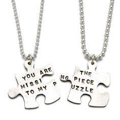 """Missing Piece Puzzle Necklace $110.00  Handmade by artist Kathy Bransfield, this precious set of two sterling silver pendants joins to proclaim """"You Are The Missing Piece To My Puzzle."""" Separate into two necklaces so you and your better half are always linked. Great as a gift to someone special, or for keeping to yourself until you find your missing piece. I want this"""