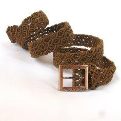 Macrame  brown belt Warm Wood, knotted handmade belt $63.00