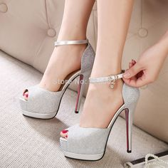 Trendy High Heels For Ladies : Picture DescriptionHow about this shoe? Share to get a coupon for all on FSJ Women's Silver Buckle Stiletto Heels Peep Toe Ankle Strap Sandals Frauen In High Heels, Sexy High Heels, Womens High Heels, Stilettos, Pumps Heels, Stiletto Heels, Silver Wedding Shoes, Sandals Wedding, High Heels Plateau