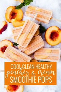 Who needs a healthy, sweet and cool treat to this freakin' hot summer heat!? Peaches are so sweet and in season right now so were making these creamy peach popsicles non-stop to help us keep cool. || Oh So Delicioso Home Made Popsicles Healthy, Homemade Popsicles, Homemade Desserts, Best Dessert Recipes, Frozen Desserts, Frozen Treats, Fun Desserts, Sweet Recipes, Dessert Healthy