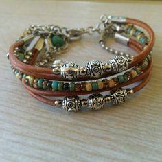 Womens Beaded Multi Strand Leather Bracelet// Hippie Charm Bracelet// Bohemian…