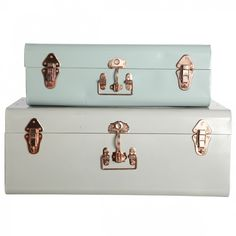 Green and Pale Grey Metal Storage Trunks (copper detail)