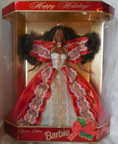 Holiday Barbie happy holidays Barbie Special Edition Barbie African American Barbie 10th anniversary happy holidays TillieLuvsTreasures