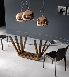 Gris foncé anthracite, gris pierre, verre, bois, noir, cuivré  Cattelan Italia @iSaloni #milandesignweek #mdw13 #interiors