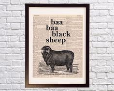Baa Baa Black Sheep Art Print  Vintage Sheep  Print on