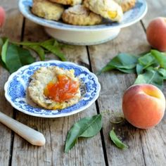 Light scones flavoured with chopped fresh peaches and cream