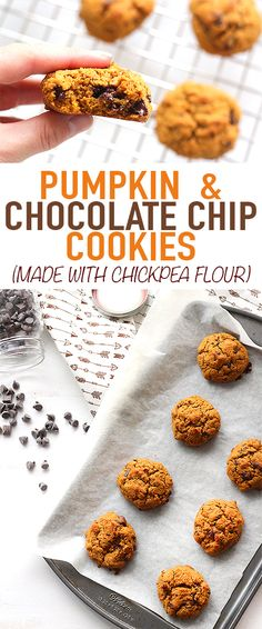These pumpkin chocolate chip cookies are fluffy, filling, and full of protein. Made with chickpea flour, it's a delicious gluten free treat!