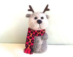 Needle felted deer wool fawn baby deer needle felting needle felt deer wool deer brown white red buck moose stag bambi cute deer felt4soul