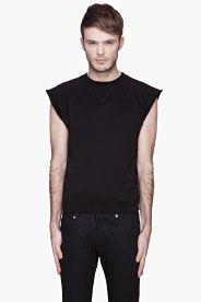 Black sleeveless muscle shirt
