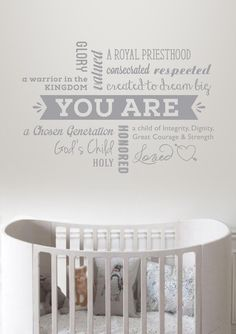 You Are Declaration Wall Decal Vinyl for Madi & Me perfect for any nursery Chosen Generation, Royal Priesthood, Graphic Design Studios, Stationery Design, Vinyl Designs, Vinyl Wall Decals, Nursery, Products, Baby Room