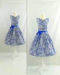 Vintage 1950s Full Skirt Cotton Dress in Blue & White by TwoMoxie