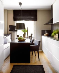 Small kitchen design - design and decoration de casas Tiny Spaces, Small Apartments, Work Spaces, Kitchen Interior, Kitchen Decor, Kitchen Ideas, Kitchen Designs, Kitchen Planning, Kitchen Inspiration