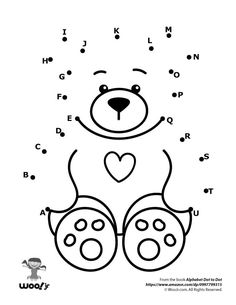 Printable Alphabet Dot to Dot Worksheets Preschool Writing, Fall Preschool, Preschool Learning Activities, Infant Activities, Kindergarten Activities, Dot To Dot Printables, Printable Alphabet, Teddy Bear Day, Dots Free