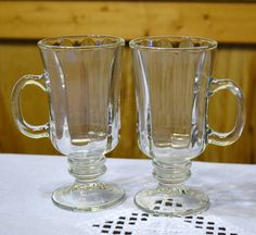 Vintage Clear Glass Irish Coffee Mug Set of 2 by PanchosPorch