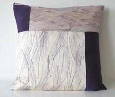 Large Geometric Cushion Patchwork of Purple & Cream Vintage Japanese Kimono Silk £50.00