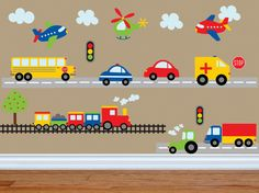 Car Decal - Construction Wall Decal -Bus Decal- Transportation Decal - Truck Wall Decal - Boy Wall Decal - Nursery Wall Decal - Wall Decals by YendoPrint on Etsy Kids Wall Decals, Kids Stickers, Nursery Wall Decals, Car Decals, Baby Month Stickers, Nursery Room, Decoration Creche, Vinyl Art, Boy Room