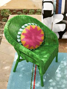 Bright-colored wicker draws attention to your furniture.