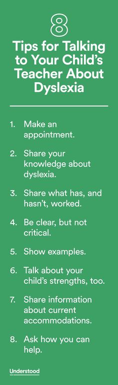 Talking to your child's teacher about dyslexia is important. It's the best way for her to understand your child's challenges, strengths and needs, so she'll be able to work with your child successfully.