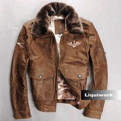 Camel Cowhide Leather Lamb Fur US Air Force Army Bomber Jacket Men SKU-116138