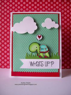 What's Up card by Audrey Tokach - Paper Smooches - Party Posse, Good Gab stamp set.
