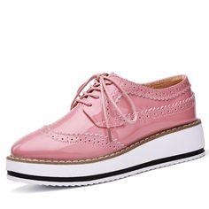 Platform Oxfords Brogue Flats Shoes Patent Leather Lace Up