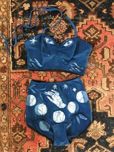 Indigo Batik Ritual Garment Sets (custom made) Cotton Lycra Fabric, Bikinis, Swimsuits, Swimwear, Lingerie, Running Women, Indigo, What To Wear, Style Me