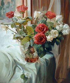 """Розы на окне"" холст, масло"