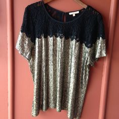 Lace + Sequin top Black lace and gold sequin to never worn, no sequins missing ❌NO TRY ON Gibson Latimer Tops