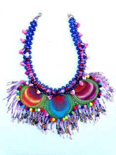 Costume colorful bohemian, antique art Nanduti lace unique on genuine leather support, one-of-a-kind beaded necklace