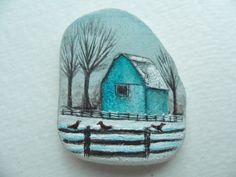 Blue barn in the snow  original acrylic tiny painting by Alienstoatdesigns, $39.00