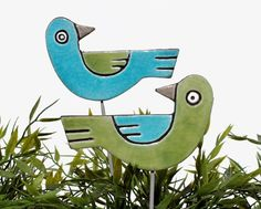 love birds garden art - garden decor - garden decoration - plant stake - garden art- frost resistant - ceramic - plant pot decoration