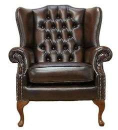 Our Winged High-Back Chesterfield Queen Anne Armchair with exposed hardwood leg detail. A very popular look in the Chesterfield style. Chesterfield Mallory Queen Anne Flat Wing Chair Handmade In Antique Brown Leather. High Back Armchair, High Back Chairs, Hanging Chair From Ceiling, Adirondack Chairs For Sale, Traditional Sofa, Wing Chair, Swinging Chair, Antiques, Couches