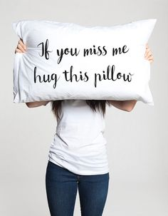 Long distance relationship Gift Pillow Boyfriend Love Friendship Friend I miss you gifts If you miss me hug this pillow ldr Missing gifts by CreativePillowLV on Etsy https://www.etsy.com/listing/477883092/long-distance-relationship-gift-pillow