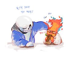 sans & kid grillby hmmm,,,may be.. i Think grillby younger than sans