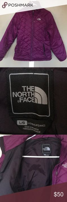 North Face Puffy Jacket. Raspberry North Face jacket. This is a wonderful jacket to keep you toasty! Size Large and in good used condition. I plan to buy another in the next size up.   Primaloft. Will compress into the pocket to save space when packing. This makes a great jacket to take traveling.  Also can be zipped into the North Face 3-in-1 jacket system. The North Face Jackets & Coats Puffers
