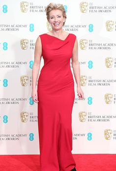 Mother of the Bride Red Carpet Dresses. Emma Thompson in a red sheath at the 2014 EE British Academy Film Awards.