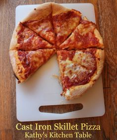 Cast Iron Skillet Pizza | Kathy's Kitchen Table - Cooking your pizza in a cast iron gives this pizza an amazing crust!