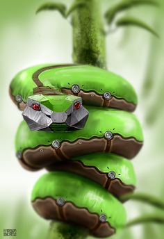 Snake wraps around a coaxial cable of wires and bites down, injecting a venom virus into the cables.