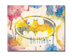 Batman logo Watercolor poster  Instant download  by PrintandShow