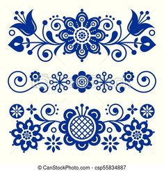 Floral folk art greeting card, design elements, Scandinavian style decor with flowers and leaves, retro navy blue floral compositions. Traditional Nordic patterns, spring ornament isolated on white Scandinavian Tattoo, Scandinavian Embroidery, Scandinavian Pattern, Scandinavian Folk Art, Folk Art Flowers, Flower Art, Polish Folk Art, Tole Painting, Painting Tips