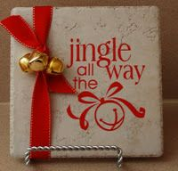 Christmas tile, neat idea for Christmas decor! I'd even give these as gifts.
