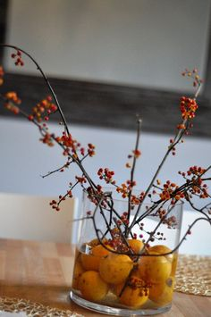 This with flowers instead of branches would look pretty! Thanksgiving 2016, Thanksgiving Treats, Harvest Time, Fall Harvest, Holiday Fun, Holiday Ideas, Thanksgiving Centerpieces, Fall Dinner, Special Occasion