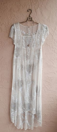 Romantic sheer maxi dress beach wedding beaded gatsby gypsy goddess bride with free vintage lace slip reserved for Beth