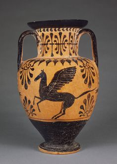 Pegasus- Back / Etruscan Black-Figure Neck Amphora; Attributed to the Lotus Bud Group; Orvieto (probably), Etruria; about 490 B.C.; Terracotta; 34.6 x 21.5 cm (13 5/8 x 8 7/16 in.); 68.AE.17