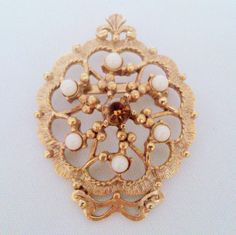Vintage Amber Rhinestone and Faux Pearl Medallion Brooch by BorrowedTimes on Etsy